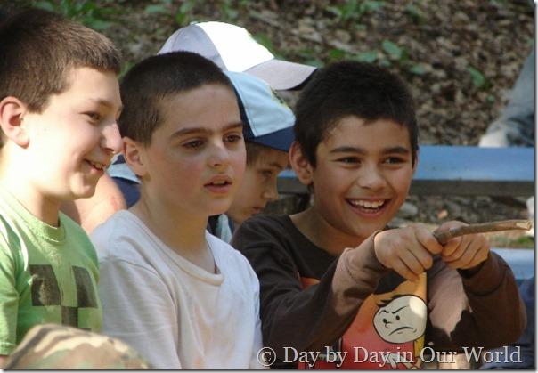 Friends having fun at Cub Scout Camp