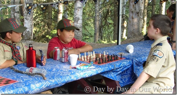 Chess Action at Cub Scout Camp