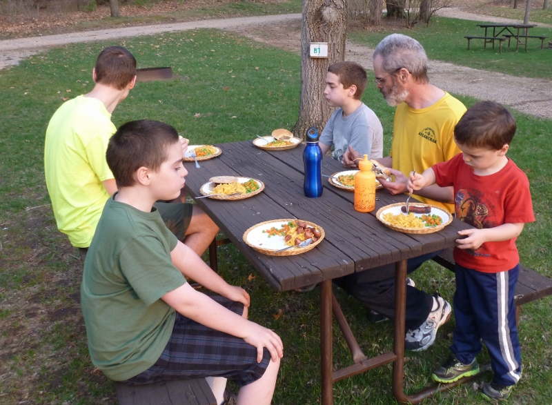 Dinner at the Picnic Table at RV Park