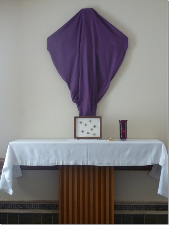 Chapel Altar with Covered Crucifix