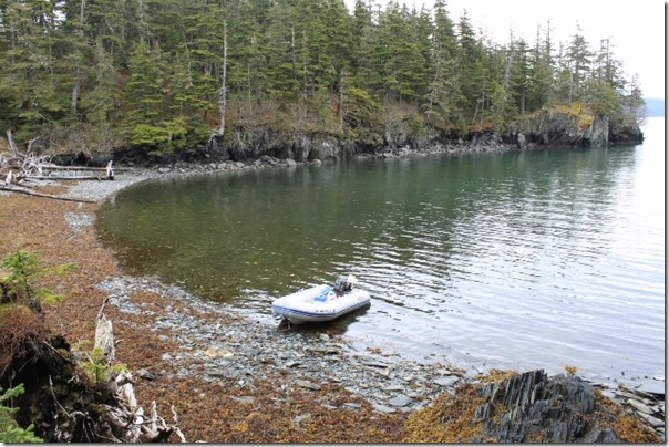 Prince William Sound Alaska Zodiac Boat at Shore