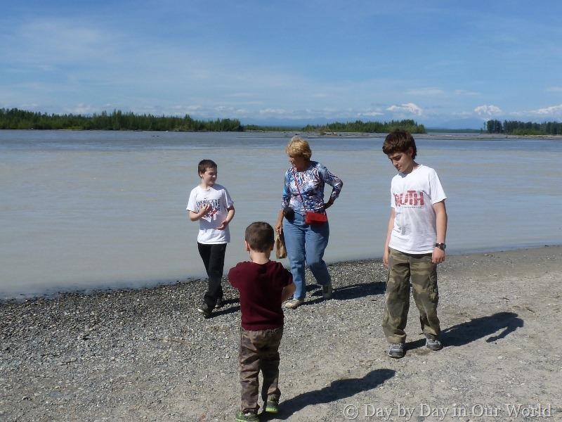 Walking along the river Talkeetna Alaska