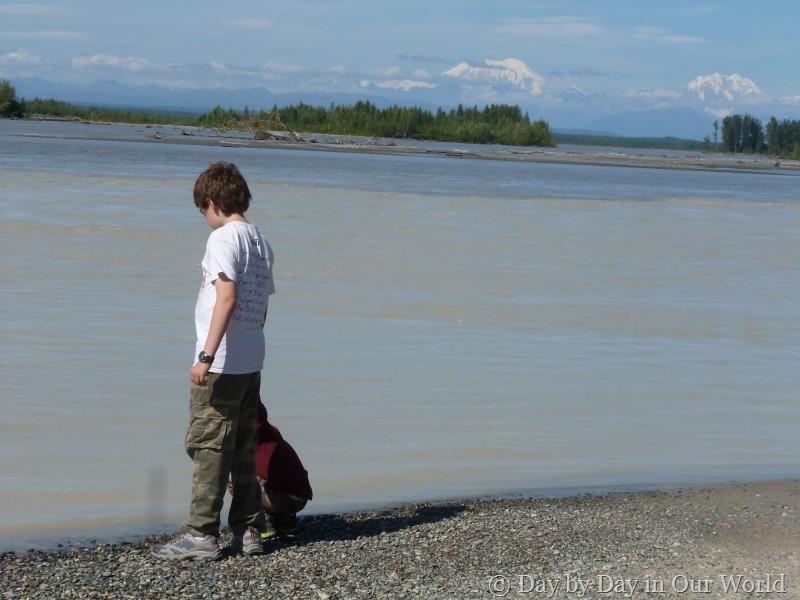 Looking at the river when visiting Talkeetna Alaska