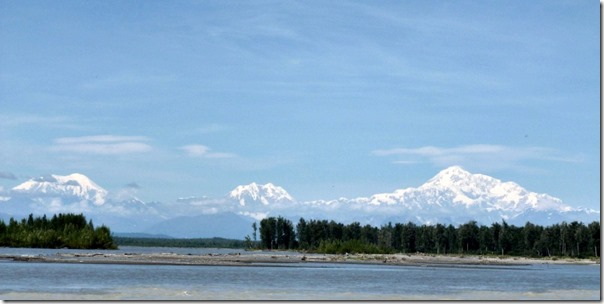 View of Denali aka Mount McKinley from River by downtown Talkeetna Alaska