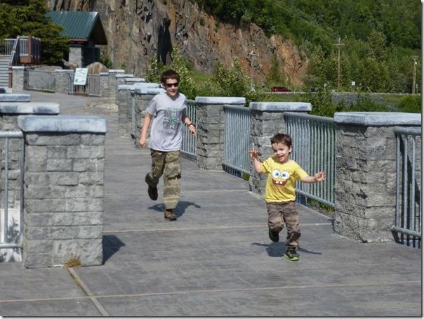 Running down the path at Bird Point Alaska