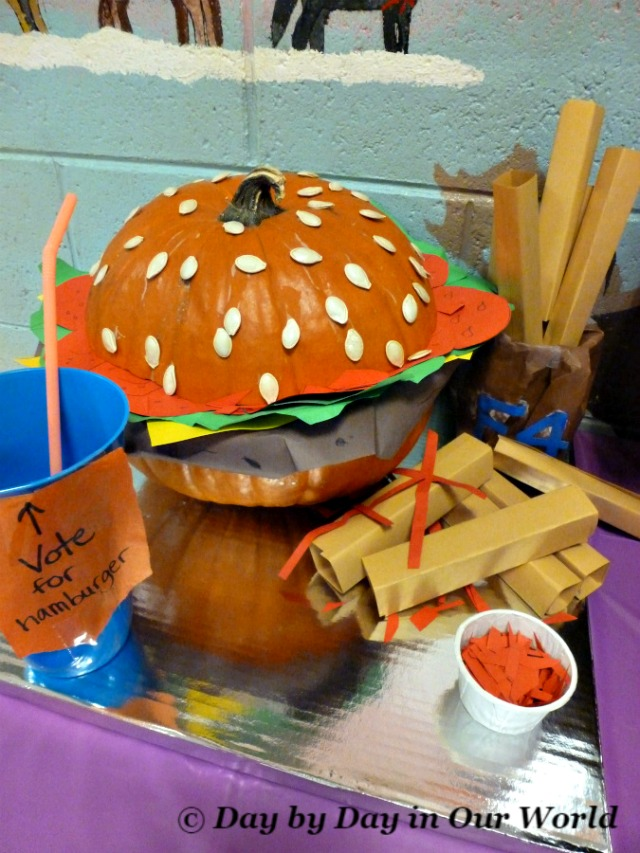 Giant Hamburger with Fries Pumpkin Display