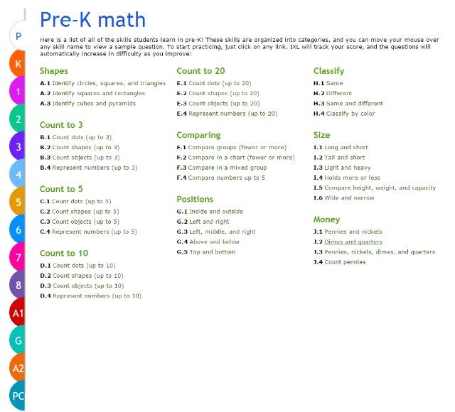 IXL Pre K math practice Skill Lists