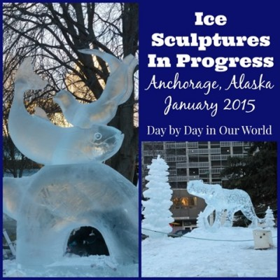 Ice Sculptures in Progress Anchorage Alaska 2015