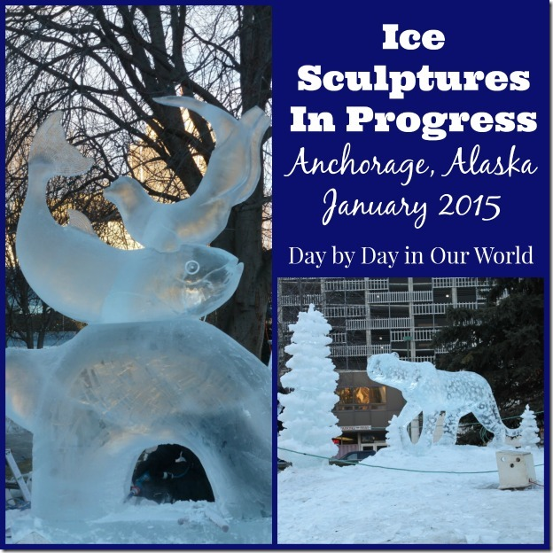 Ice Sculptures in Progress Anchorage Alaska January 2015