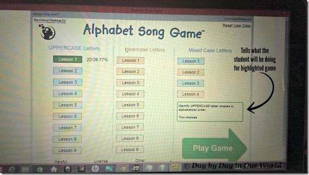 Alphabet Song Game Menu Screen