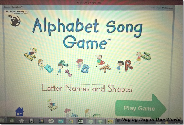 Alphabet Song Game Opening Screen