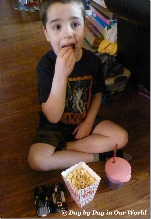 Enjoying ACT II Popcorn at Movie Night