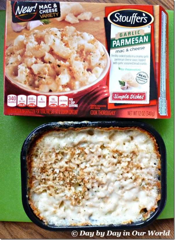 Garlic Parmesan Mac & Cheese fresh from microwave