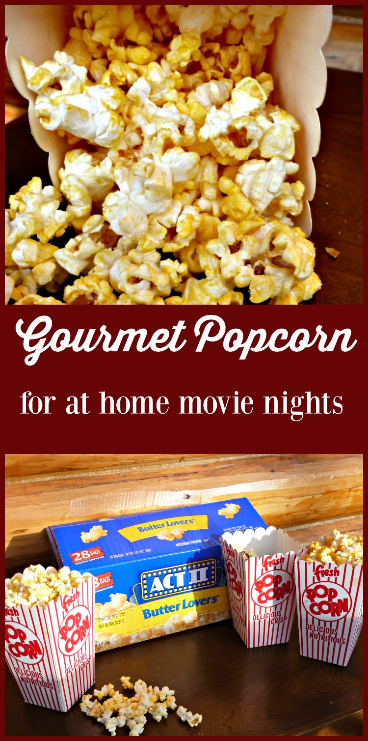 Make Gourmet Popcorn at home for movie nights using Act II Butter Lover's as a base.