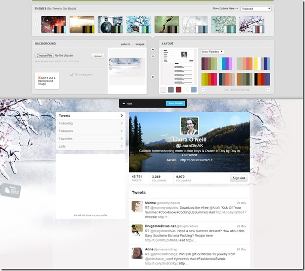 Themeleon In Action Twitter Profile Designer by COLOURlovers