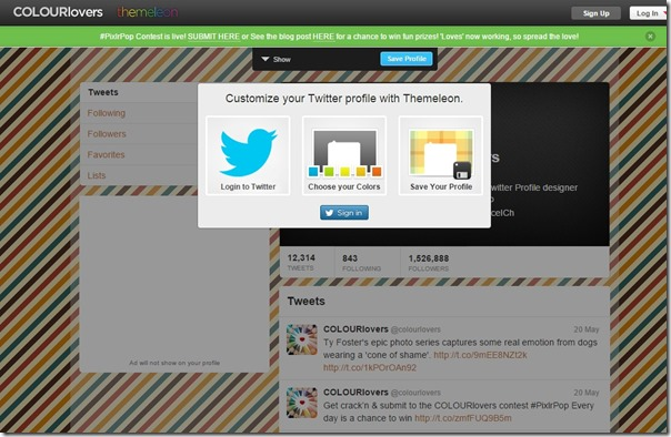 Themeleon    Twitter Profile Designer by COLOURlovers