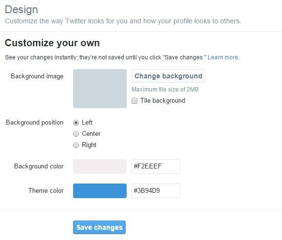 Twitter Design Settings