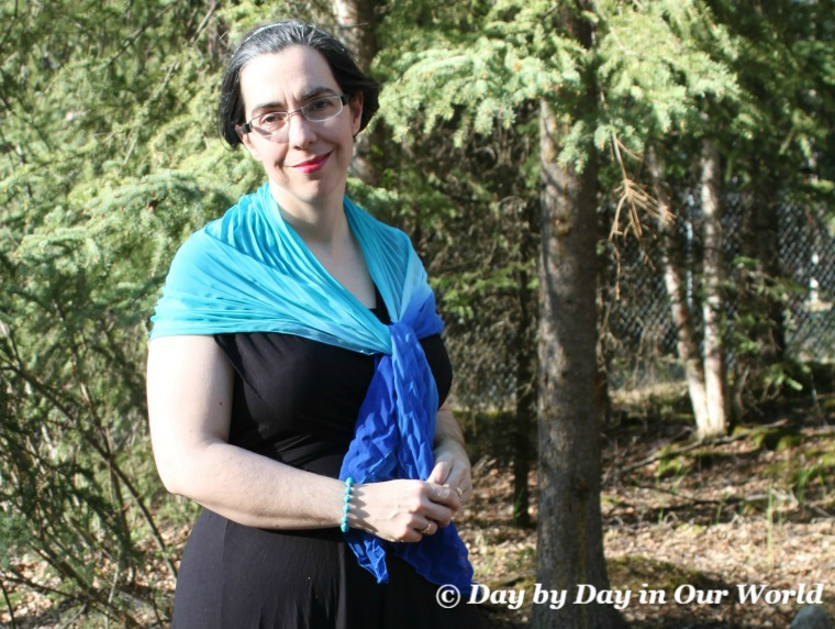 Wearing Scarf across shoulders Monroe and Main Convertible Diva Dress