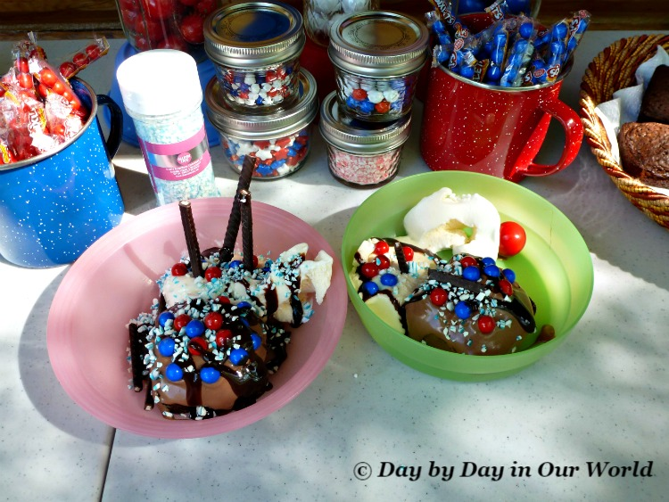 Patriotic Ice Cream Sundaes Made by the Boys