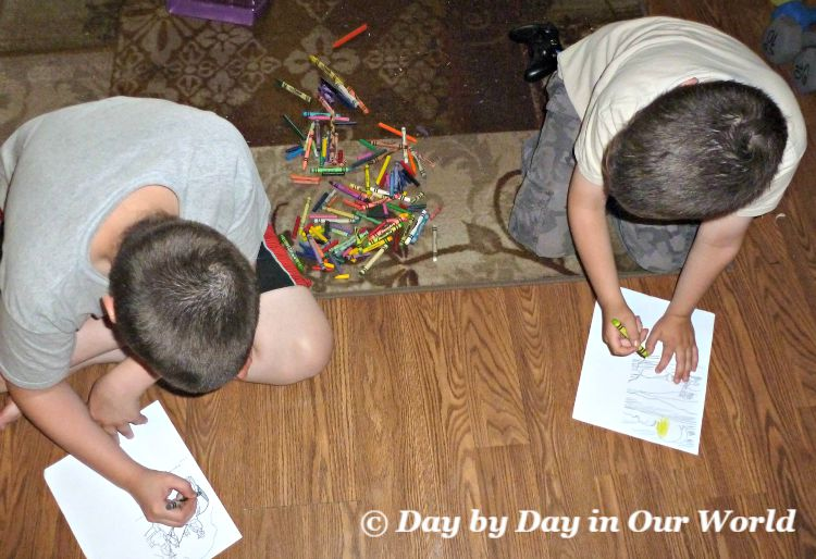 Boys Coloring Civil War Sheets While Listening to With Lee in Virginia