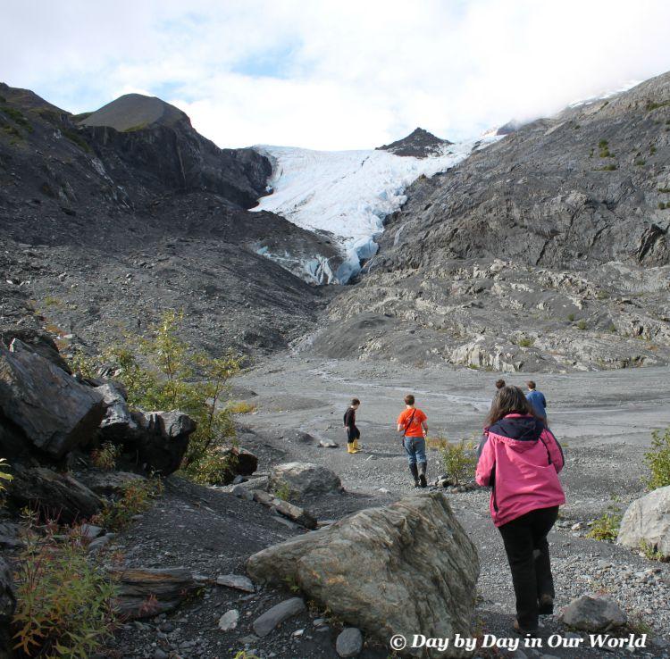 Boys and I hiking towards Worthington Glacier Alaska