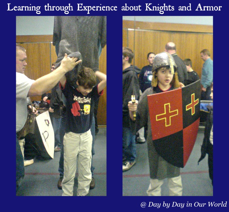 Learning through Experience about Knights and Armor at a Home School group event in Delaware 2008