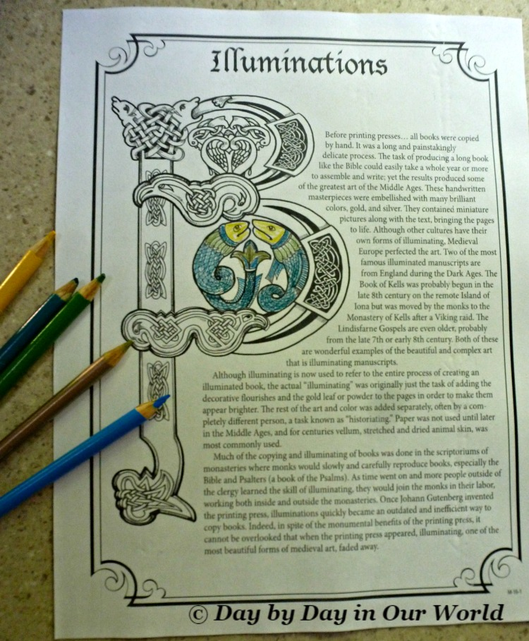 Some pages of Home School in the Woods Project Passport The Middle Ages Allow for Customization through Coloring Like Illuminations