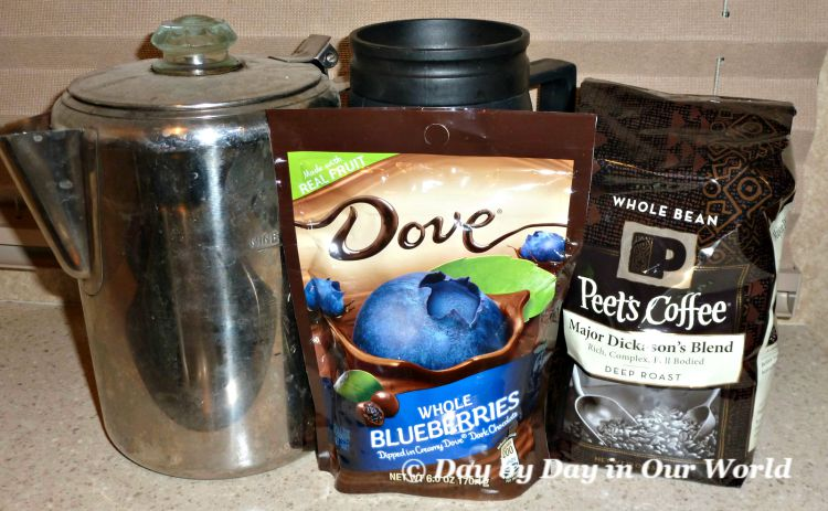 Peets Coffee in Deep Roast Plus Dove Chocolate Covered Blueberries for the Parents