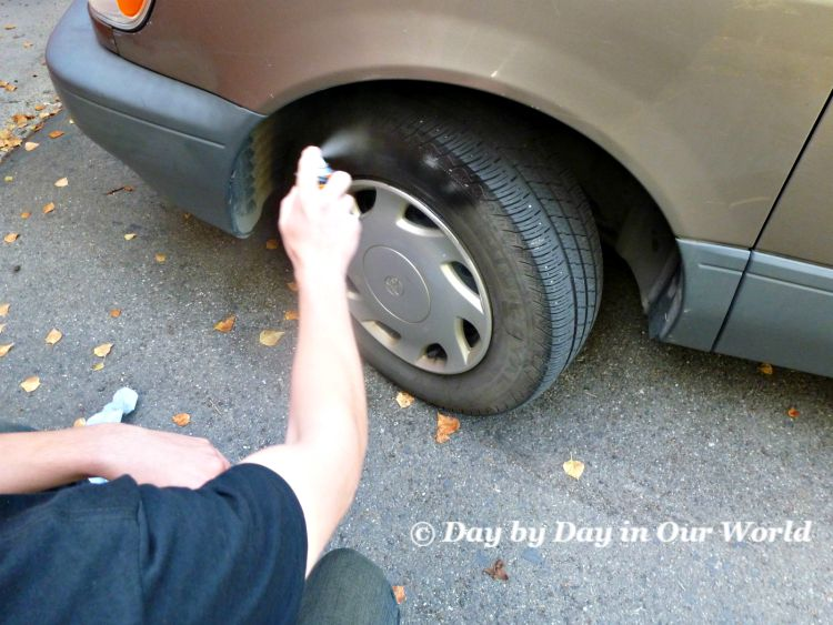 Spray ArmorAll Outlast Tire Glaze onto Tires after washing the vehicle for optimum shine