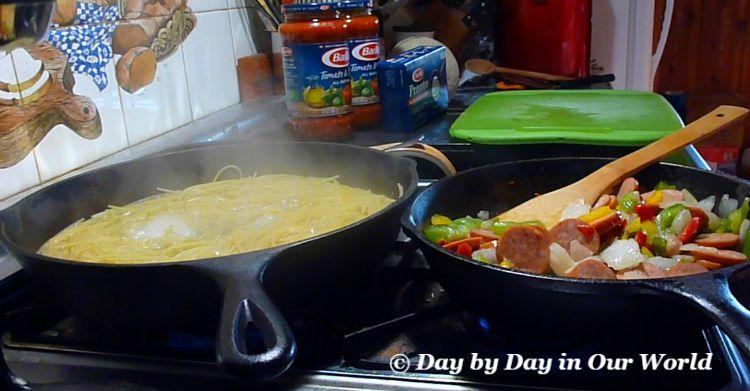 Cajun Pasta in Progress using 2 skillets on the stovetop