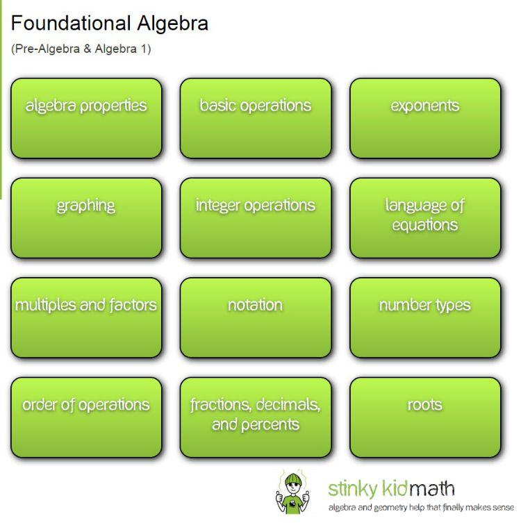 Foundational Algebra Lesson Categories on Stinky Kid Math