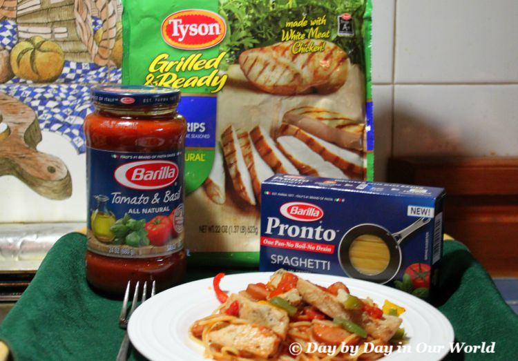I can feed my family of 6 quickly using Barilla Pronto Pasta and Tyson Grilled and Ready Chicken Strips