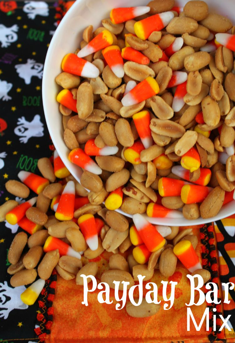 If you love the taste of Payday candy bars then you will enjoy this combination of peanuts and candy corn to grab by the handful