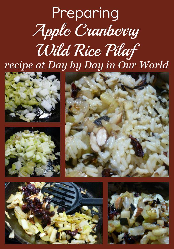 Preparing Apple Cranberry Wild Rice Pilaf Visual