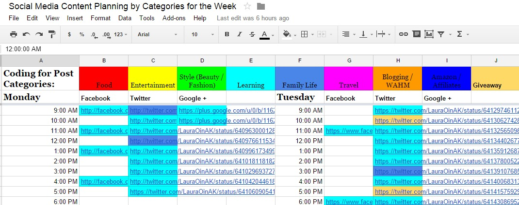 Social Media Content Planning by Categories for the Week   Google Sheets