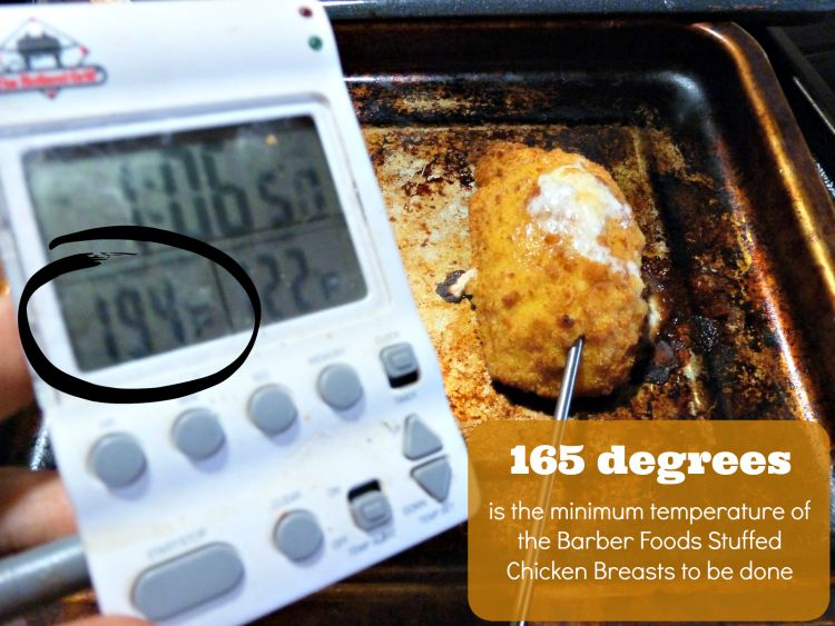 Verify that your Barber Foods Stuffed Chicken Breasts are fully cooked by checking the internal temperature
