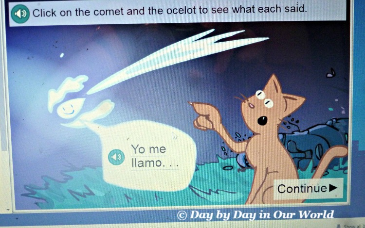 Screenshot of the first story in Middlebury Interactive Language Spanish for K to 2