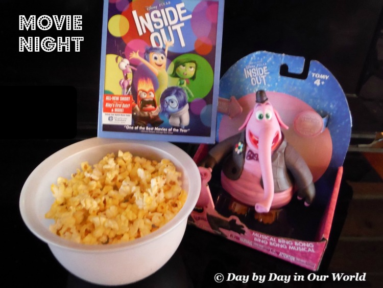 Inside Out plus Popcorn and Musical Bing Bong had our family ready for a fun movie night