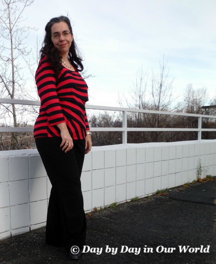 Red and Black Striped Top by Dana Buchman brings the focal point up