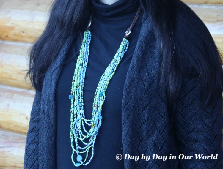 The Balinese MultiStrand Necklace Has gorgeous blues and greens and really pops against a solid color