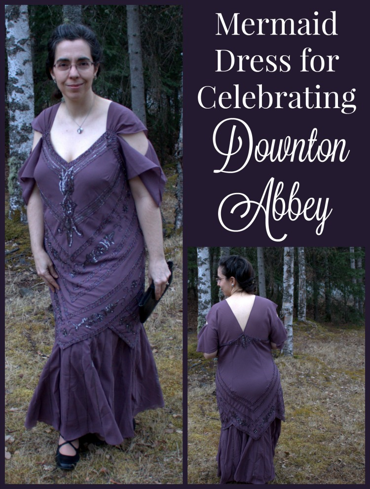 Period dress was a must for a Downton Abbey themed fundraiser I attended in 2015. This mermaid dress was perfect for shape and color.