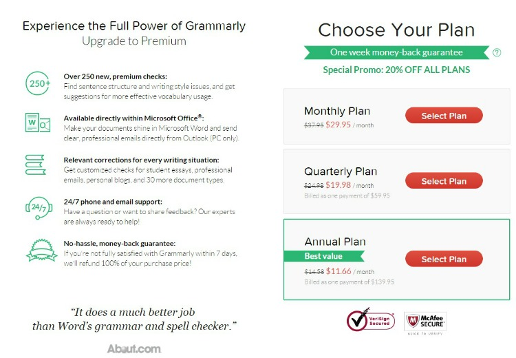 After downloading the free version you always have the option to upgrade Grammarly. Plans are monthly, quarterly, or annually.