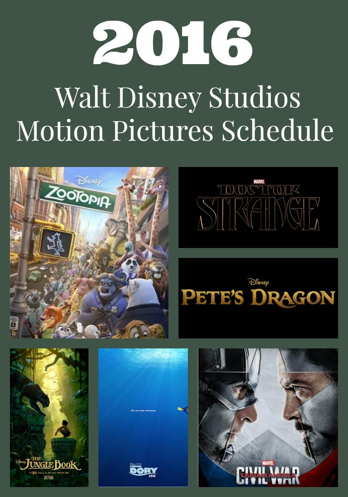 We are excited about the 2016 Walt Disney Studios Motion Pictures Schedule