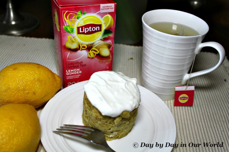 A cup of Lipton tea pairs wonderfully with a Lemon Ginger Tea Muffin for an afternoon break.