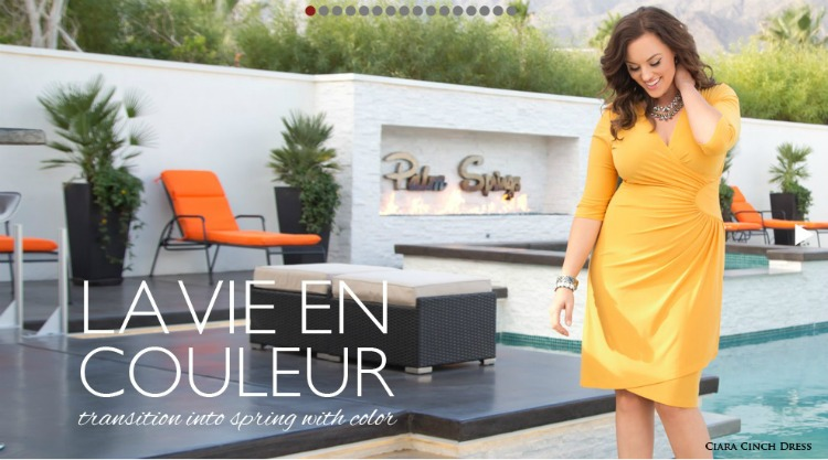 Visit the La Vie En Couleur Transition into Spring with Color Lookbook for Kiyonna Plus Size Tops and Dresses