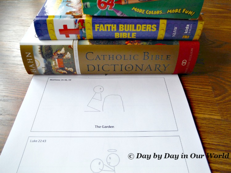 A Bible, Bible Dictionary and Crayons are what we gather with the student pages for The Resurrection by Grapevine Studies.