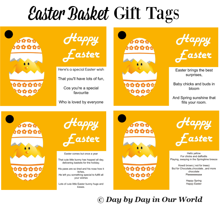 Easter Basket Gift Tags Compliments of Day by Day in Our World