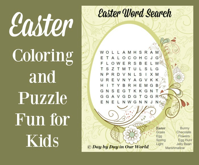 Easter Coloring and Puzzle Fun for the Kids Day by Day in Our World