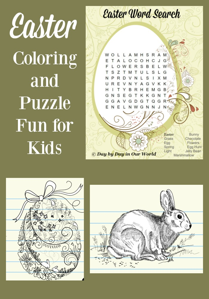 Enjoy some Easter Coloring and Puzzle Fun for the Kids Day by Day in Our World