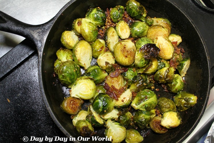 Gorgeous Roasted Brussel Sprouts with Bacon and Garlic